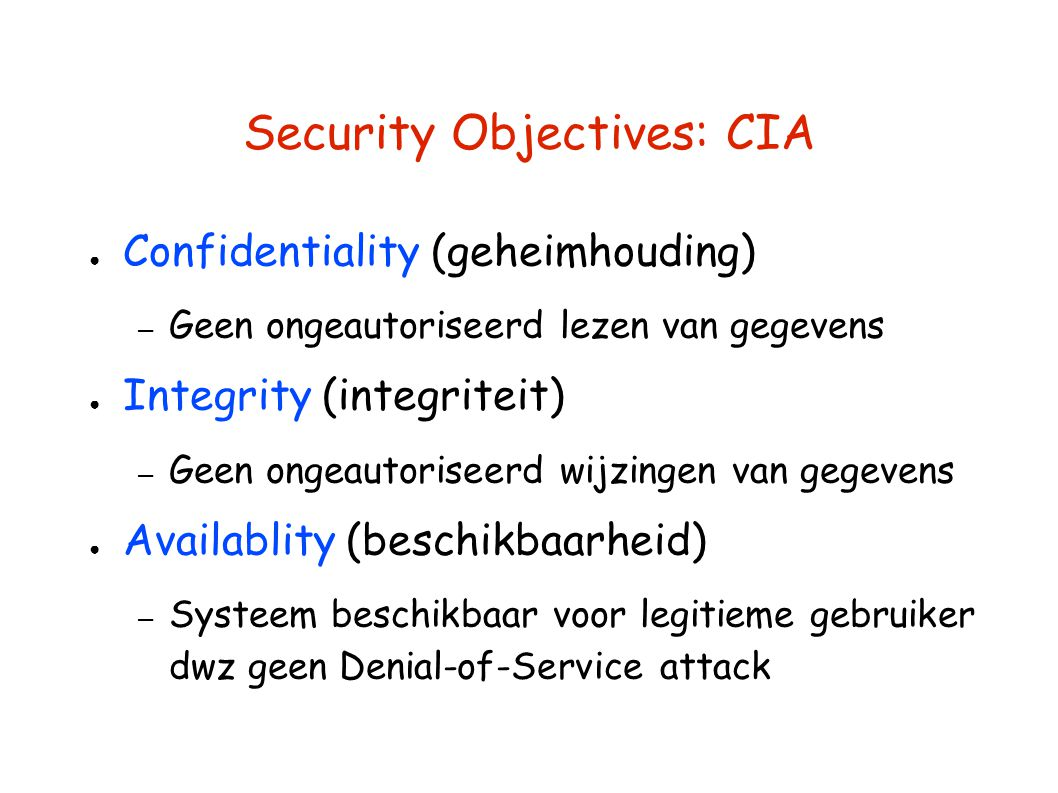 Security Objectives: CIA