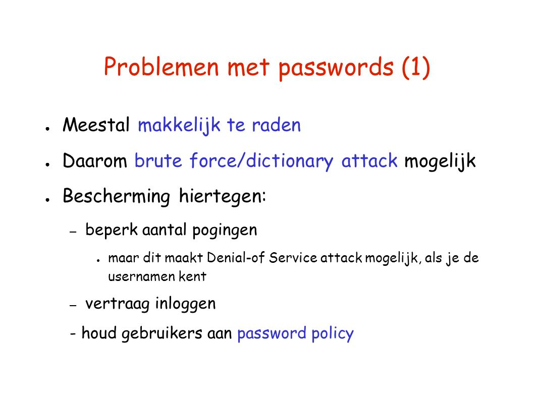 Problemen met passwords (1)