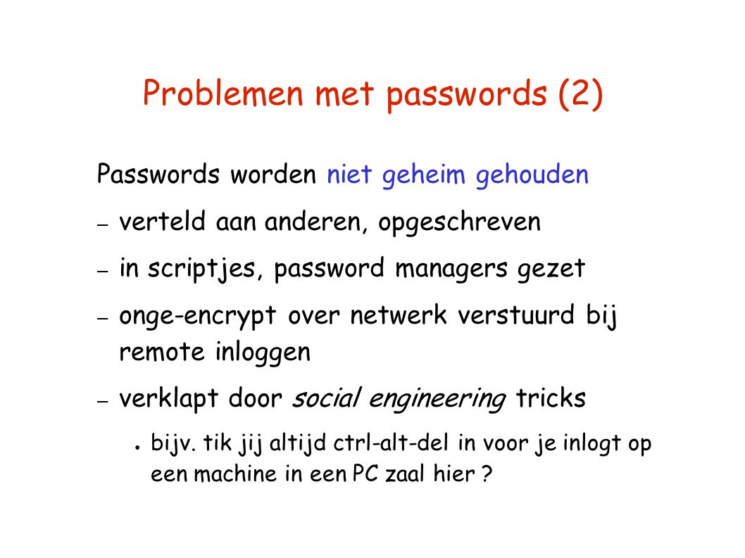 Problemen met passwords (2)