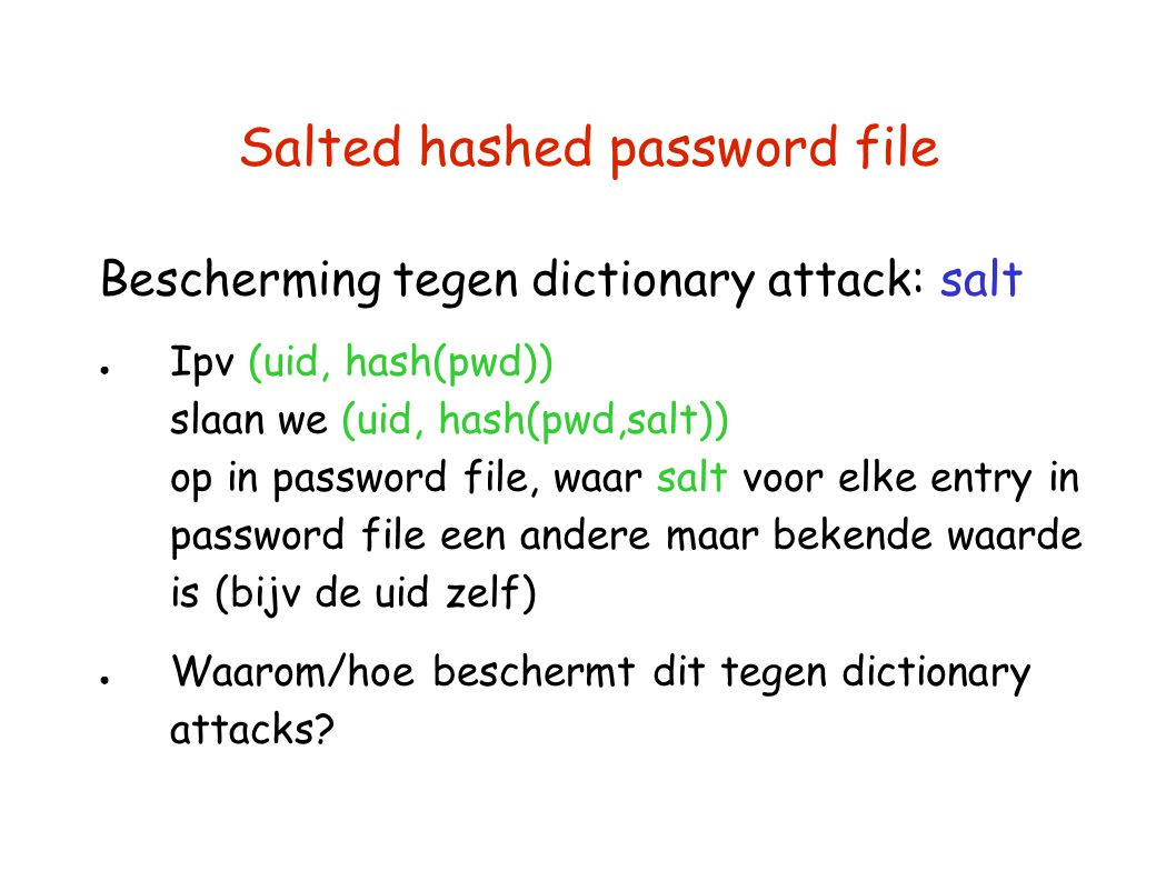 Salted hashed password file