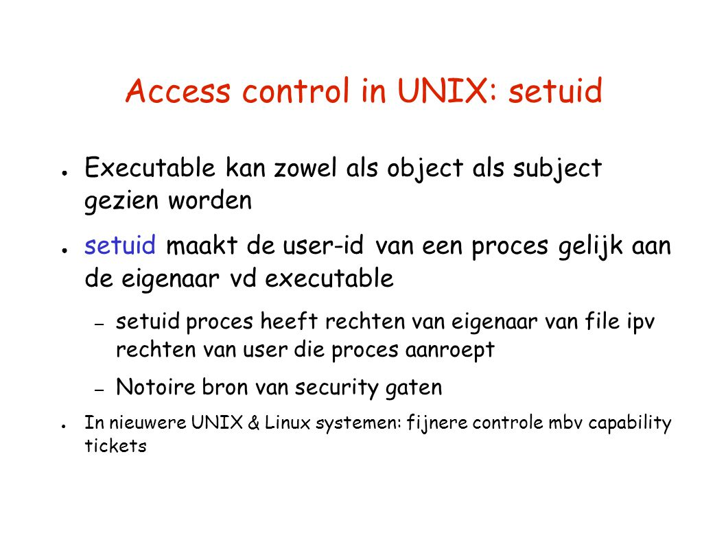 Access control in UNIX: setuid