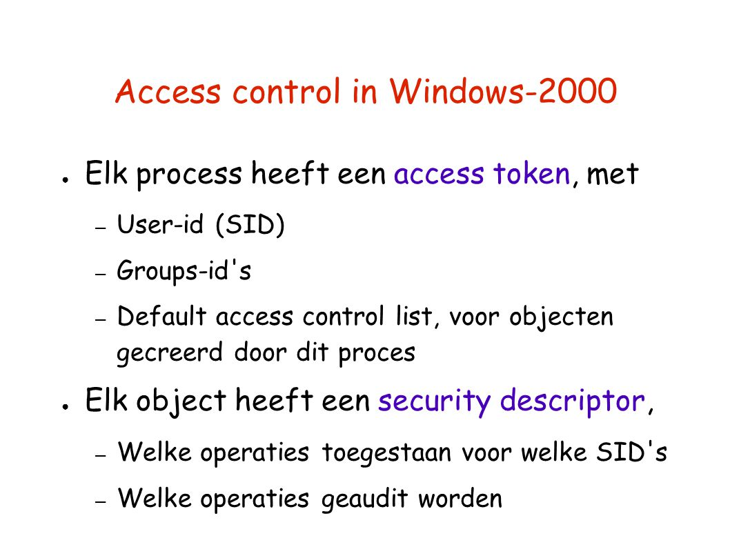 Access control in Windows-2000