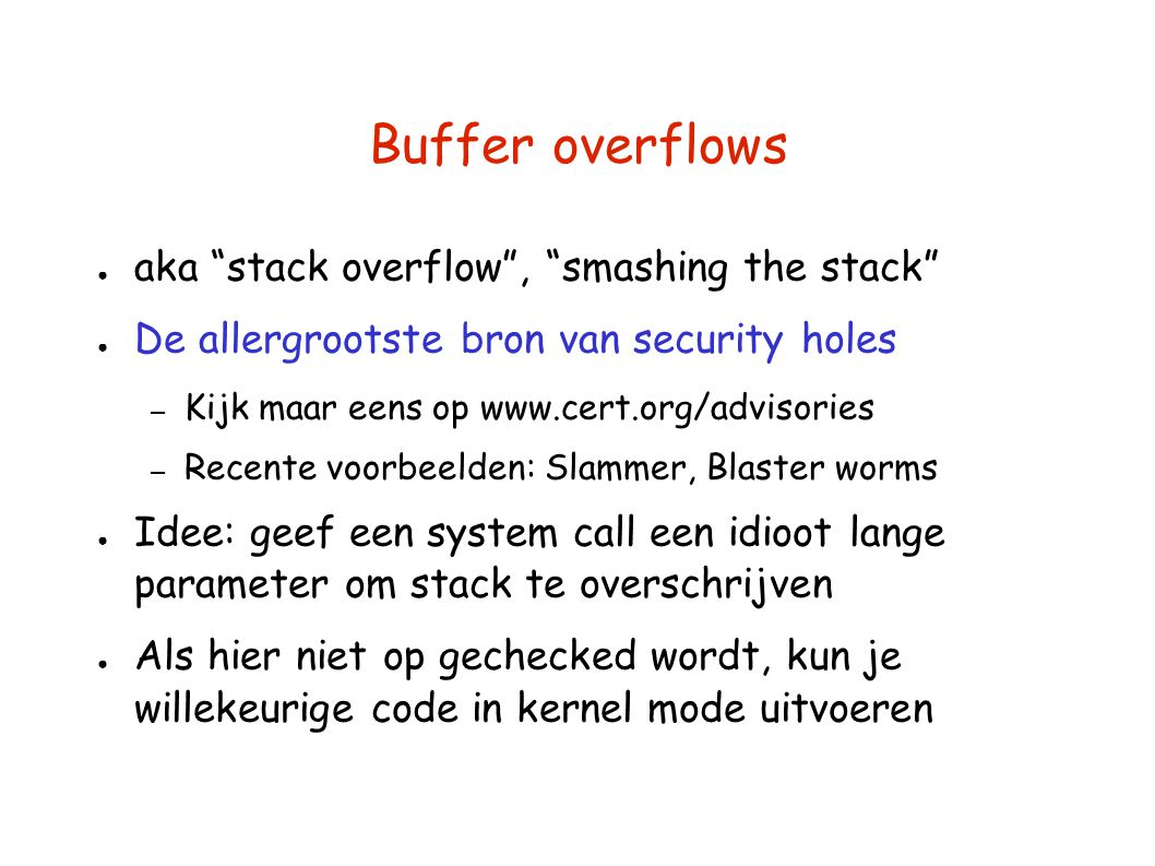 Buffer overflows aka stack overflow , smashing the stack