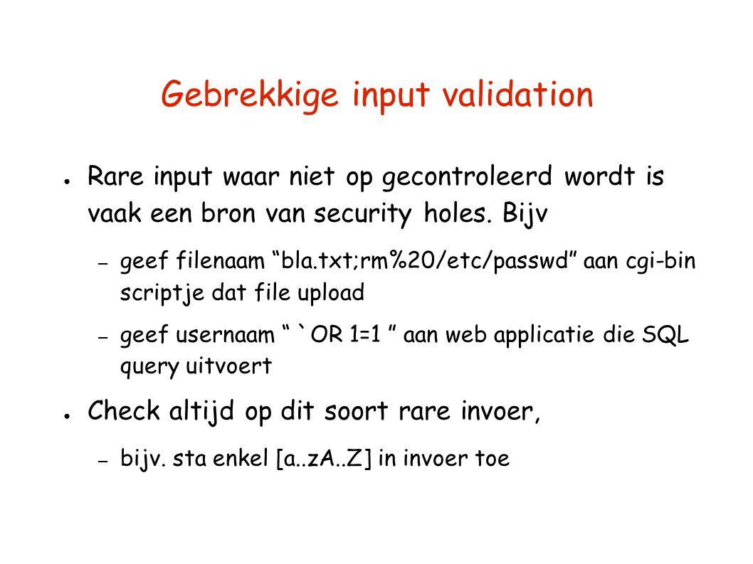 Gebrekkige input validation