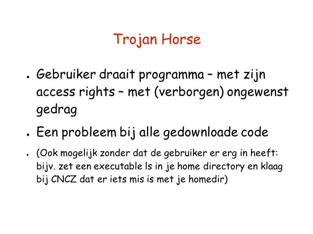 Trojan Horse Gebruiker draait programma – met zijn access rights – met (verborgen) ongewenst gedrag.