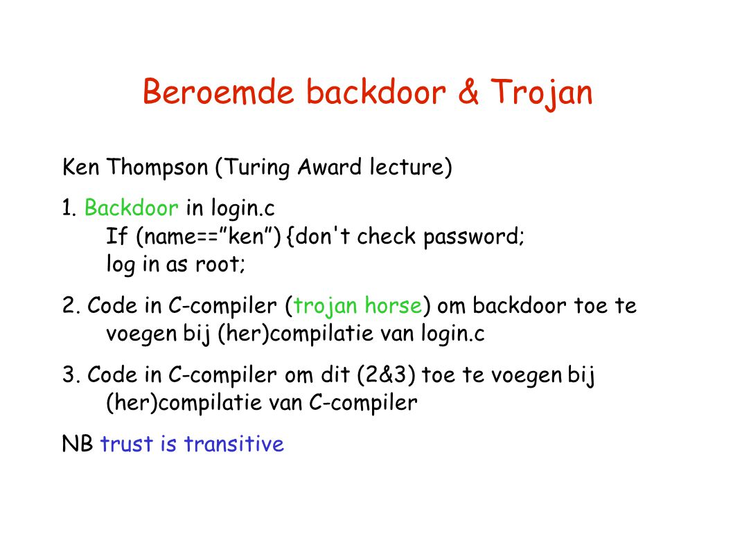 Beroemde backdoor & Trojan