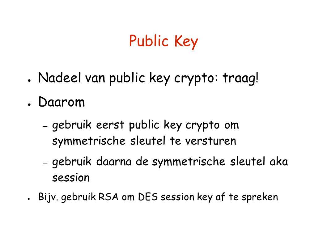 Public Key Nadeel van public key crypto: traag! Daarom