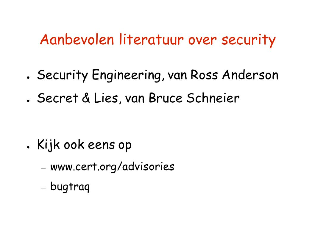Aanbevolen literatuur over security