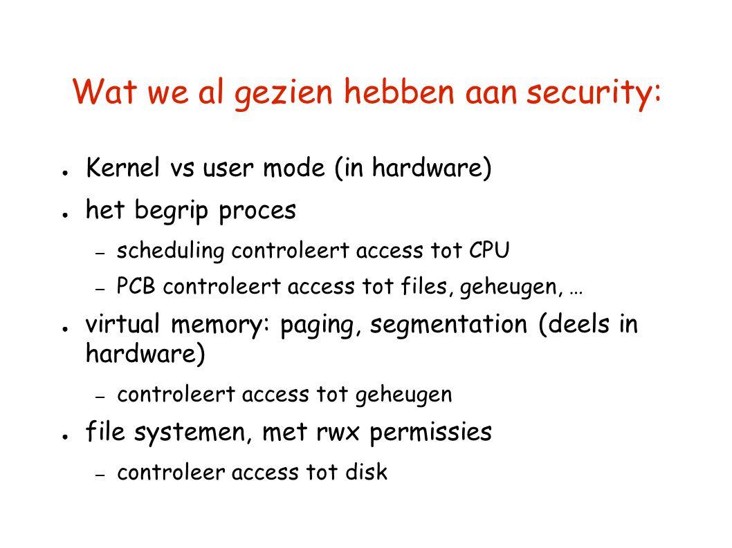 Wat we al gezien hebben aan security: