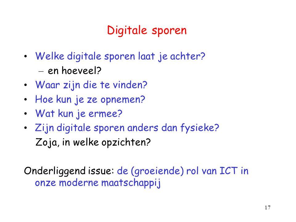 Digitale sporen Welke digitale sporen laat je achter en hoeveel