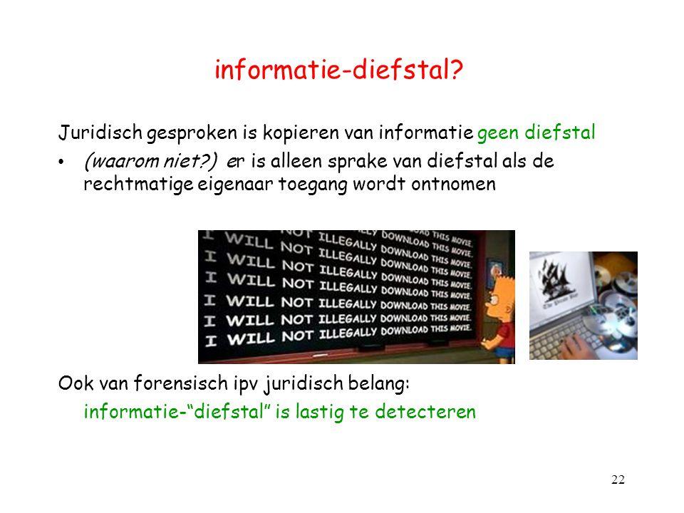 informatie-diefstal Juridisch gesproken is kopieren van informatie geen diefstal.