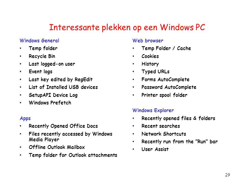 Interessante plekken op een Windows PC