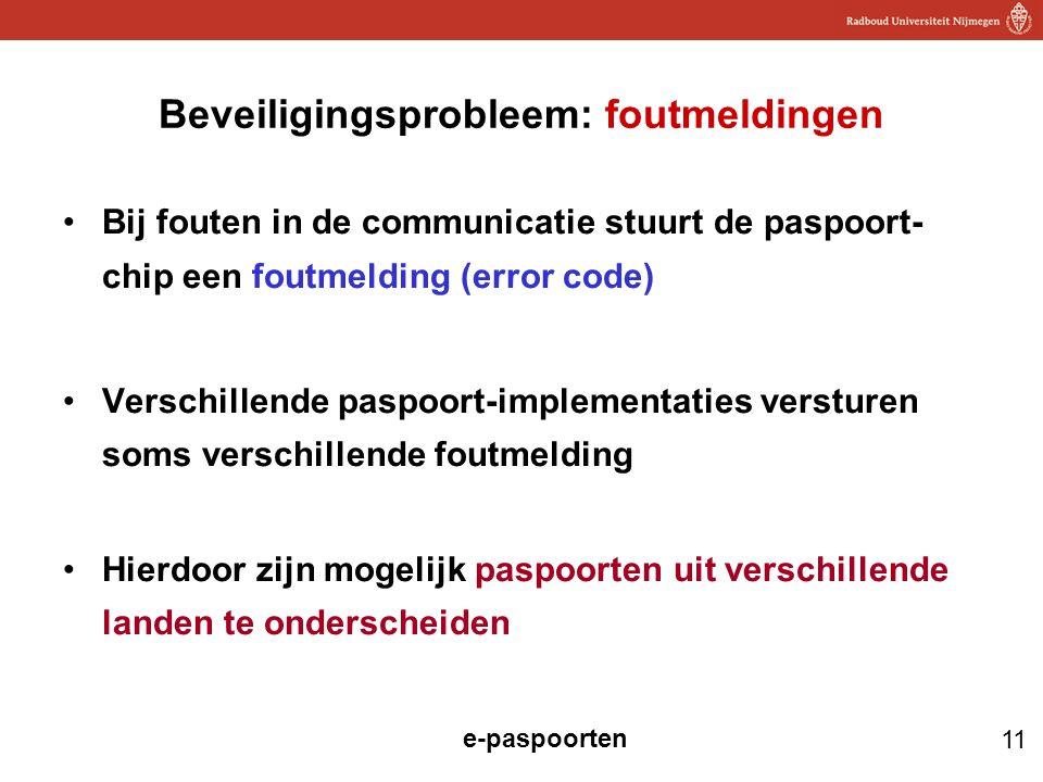 Beveiligingsprobleem: foutmeldingen
