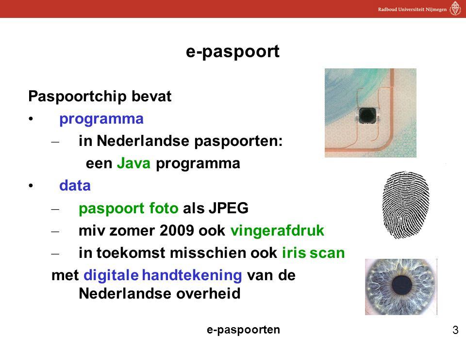 e-paspoort Paspoortchip bevat programma in Nederlandse paspoorten: