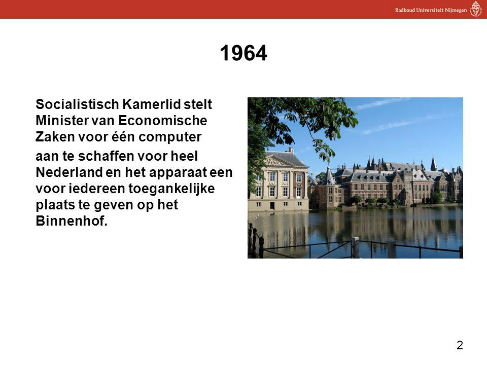 1964 Socialistisch Kamerlid stelt Minister van Economische Zaken voor één computer.
