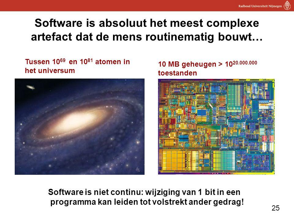 Software is absoluut het meest complexe artefact dat de mens routinematig bouwt…