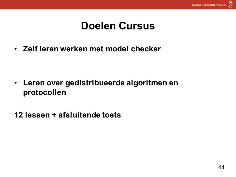 Doelen Cursus Zelf leren werken met model checker