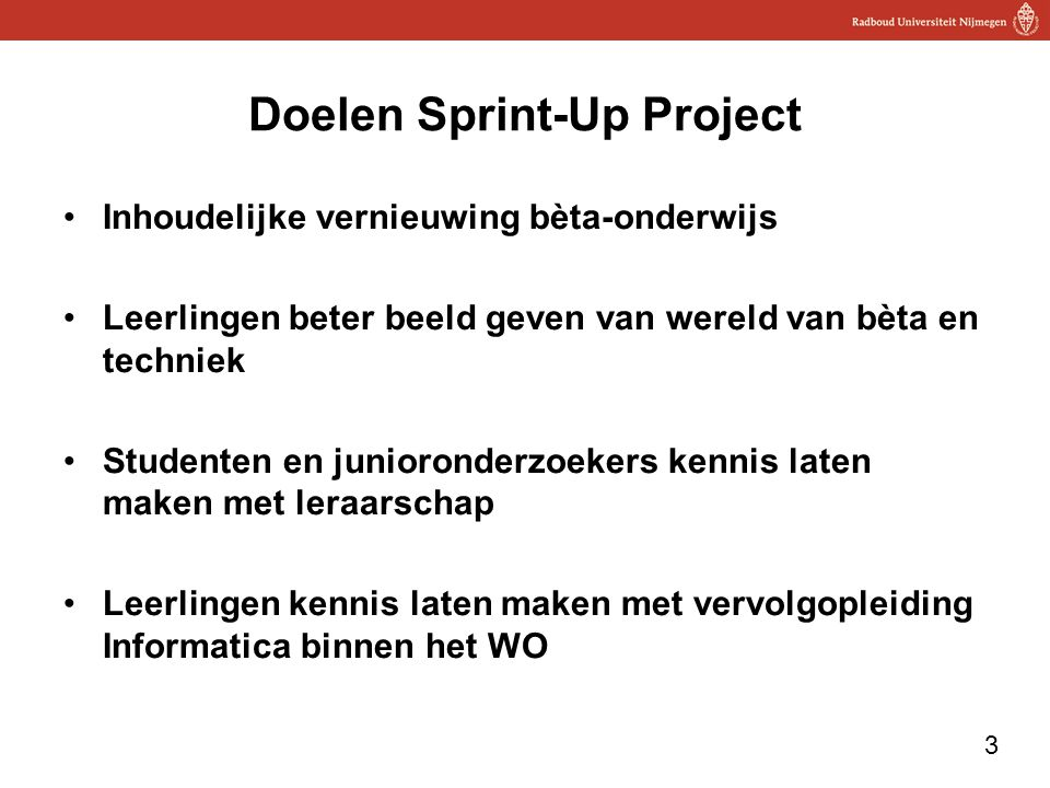 Doelen Sprint-Up Project