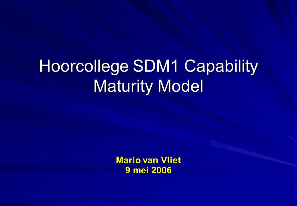 Hoorcollege SDM1 Capability Maturity Model