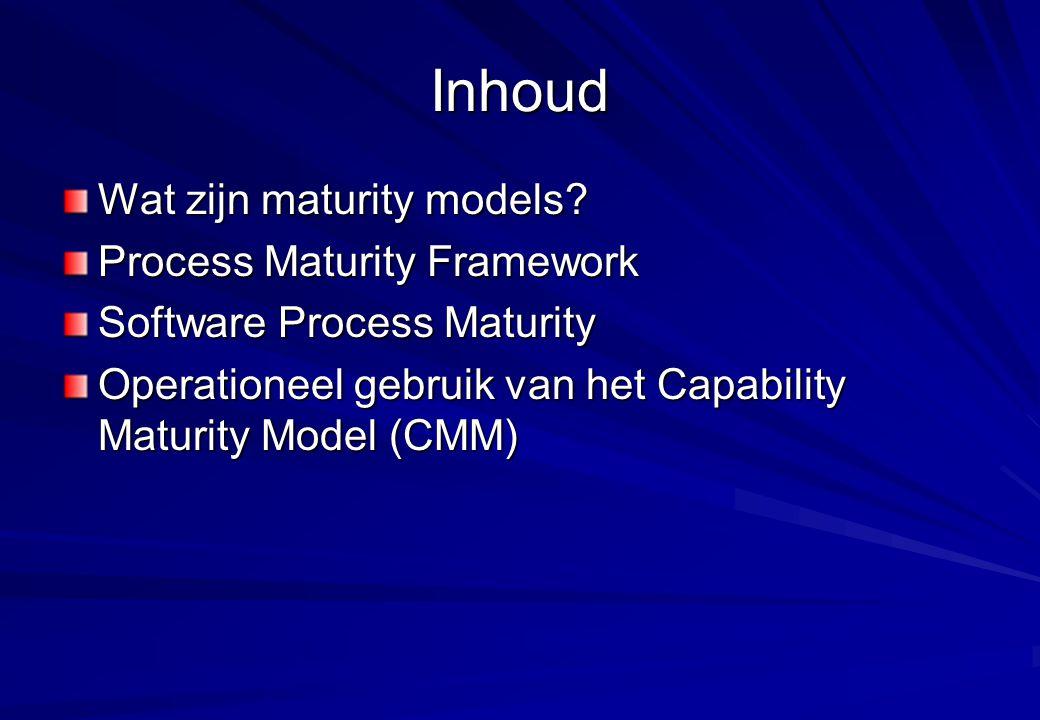 Inhoud Wat zijn maturity models Process Maturity Framework