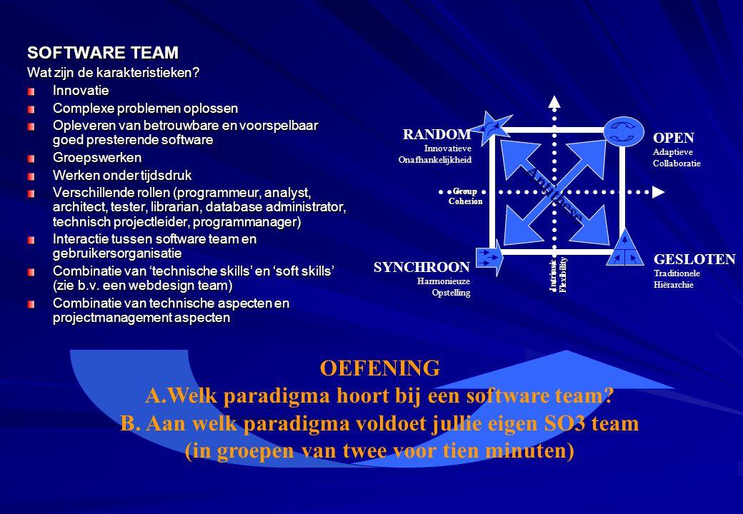A.Welk paradigma hoort bij een software team