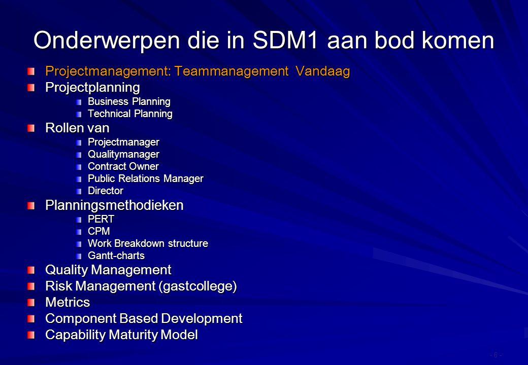 Onderwerpen die in SDM1 aan bod komen