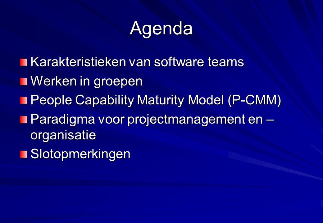 Agenda Karakteristieken van software teams Werken in groepen
