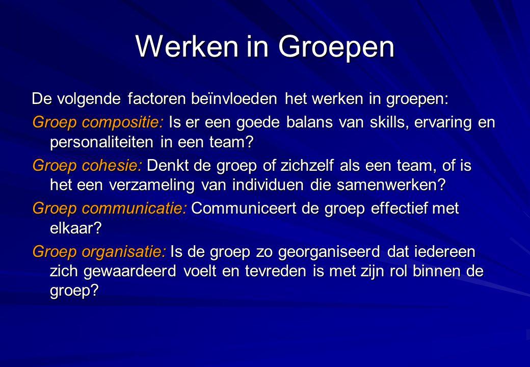 Werken in Groepen De volgende factoren beïnvloeden het werken in groepen: