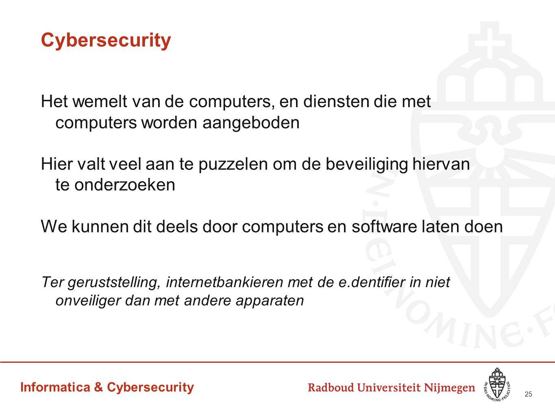 Cybersecurity Het wemelt van de computers, en diensten die met computers worden aangeboden.
