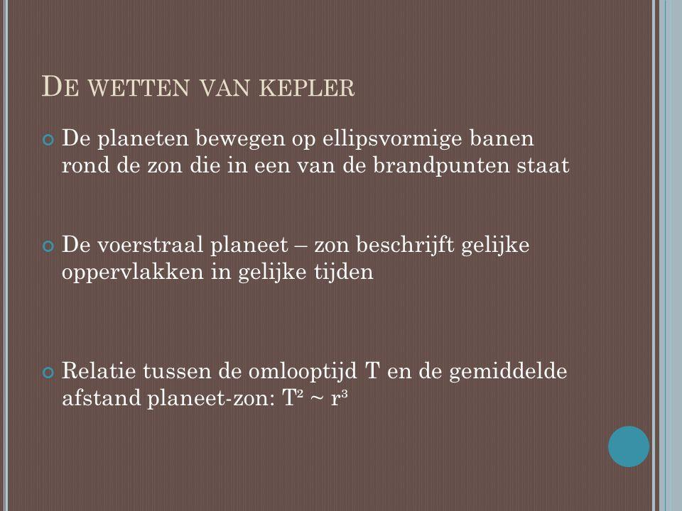 De wetten van kepler De planeten bewegen op ellipsvormige banen rond de zon die in een van de brandpunten staat.