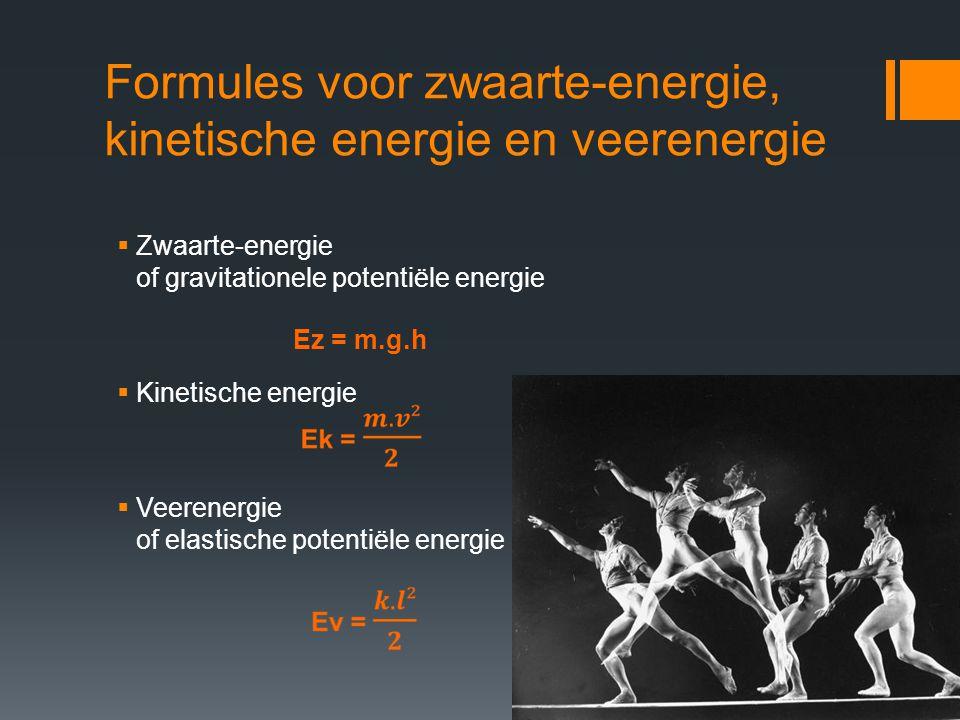 Formules voor zwaarte-energie, kinetische energie en veerenergie