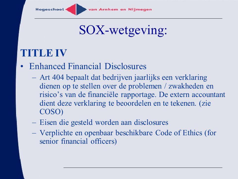SOX-wetgeving: TITLE IV Enhanced Financial Disclosures