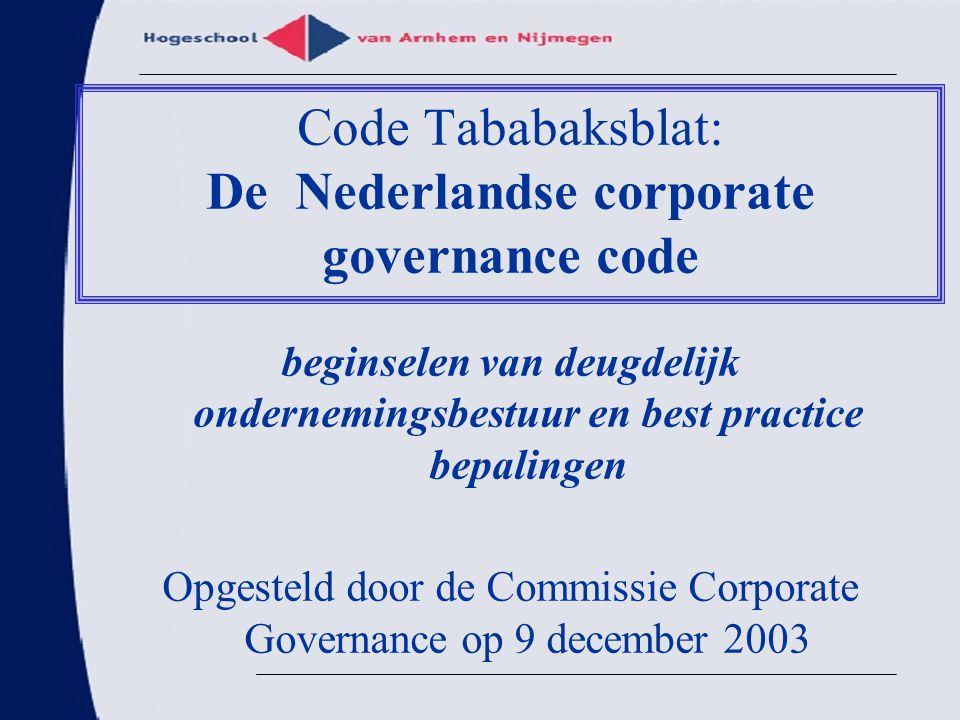 Code Tababaksblat: De Nederlandse corporate governance code