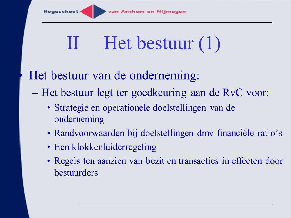 II Het bestuur (1) Het bestuur van de onderneming: