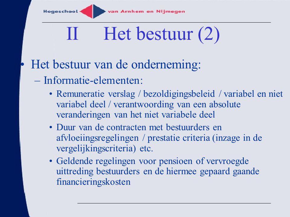 II Het bestuur (2) Het bestuur van de onderneming:
