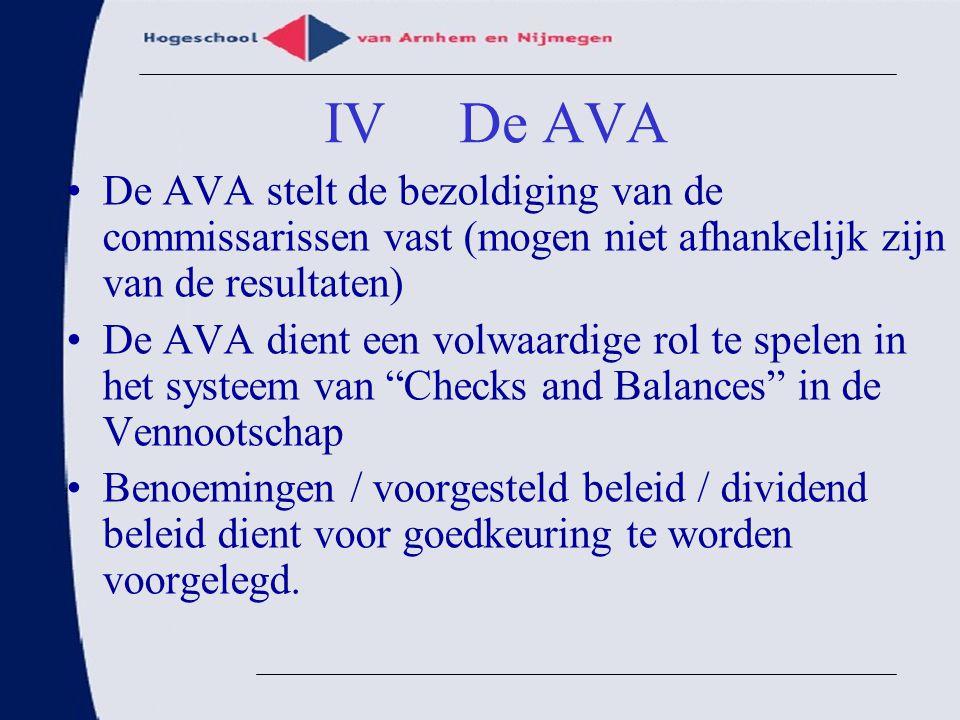 IV De AVA De AVA stelt de bezoldiging van de commissarissen vast (mogen niet afhankelijk zijn van de resultaten)