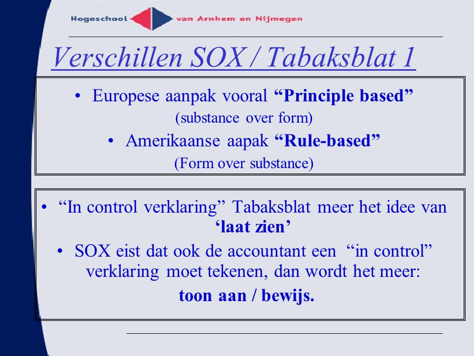 Verschillen SOX / Tabaksblat 1