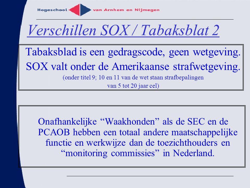 Verschillen SOX / Tabaksblat 2