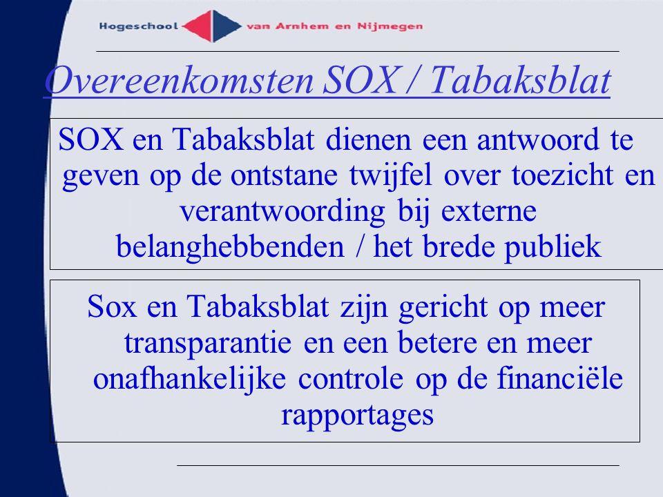 Overeenkomsten SOX / Tabaksblat