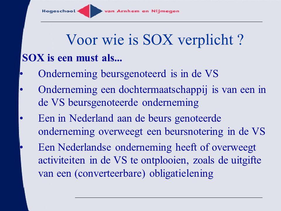 Voor wie is SOX verplicht