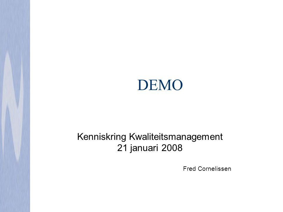 Kenniskring Kwaliteitsmanagement 21 januari 2008 Fred Cornelissen