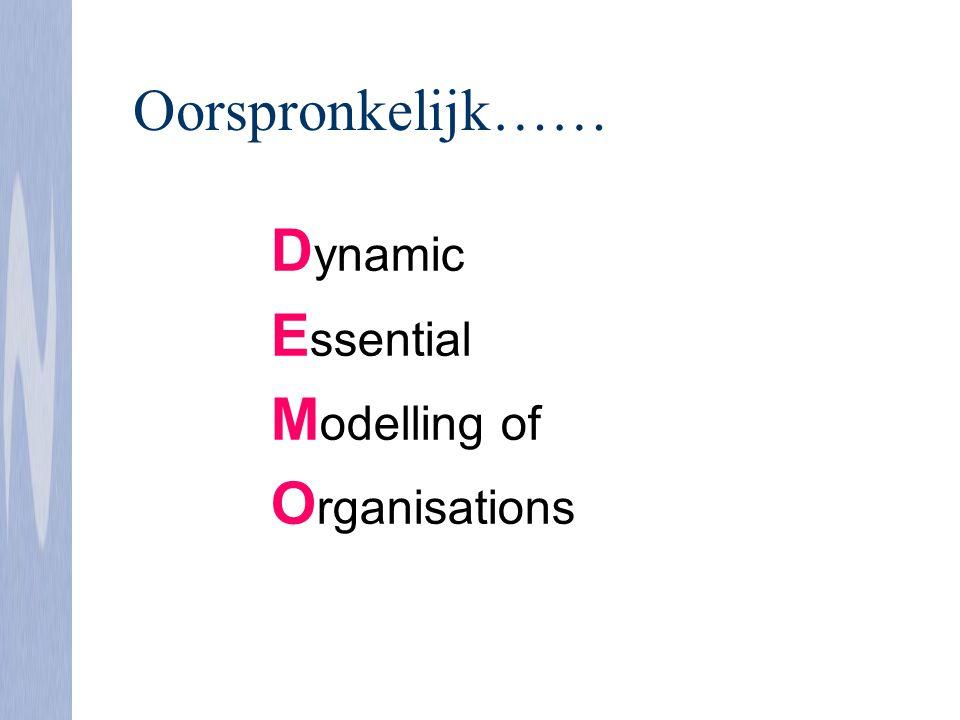 Oorspronkelijk…… Dynamic Essential Modelling of Organisations