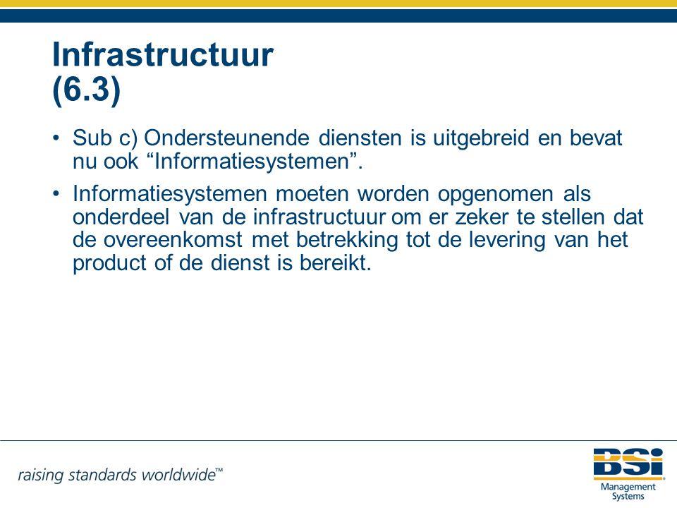 Infrastructuur (6.3) Sub c) Ondersteunende diensten is uitgebreid en bevat nu ook Informatiesystemen .