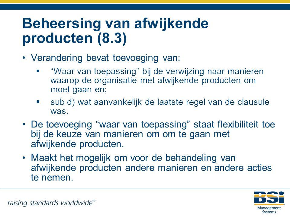 Beheersing van afwijkende producten (8.3)