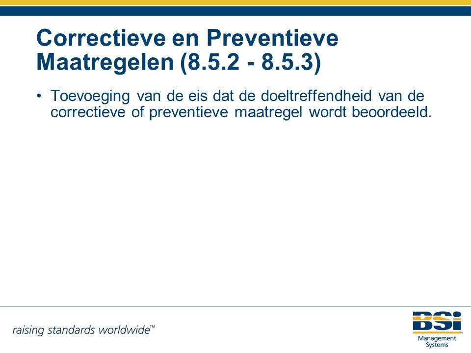 Correctieve en Preventieve Maatregelen (8.5.2 - 8.5.3)