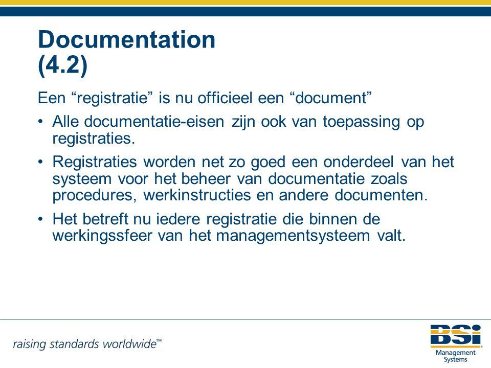 Documentation (4.2) Een registratie is nu officieel een document