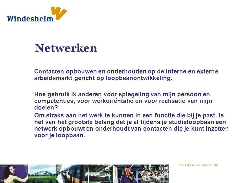 Netwerken Contacten opbouwen en onderhouden op de interne en externe arbeidsmarkt gericht op loopbaanontwikkeling.