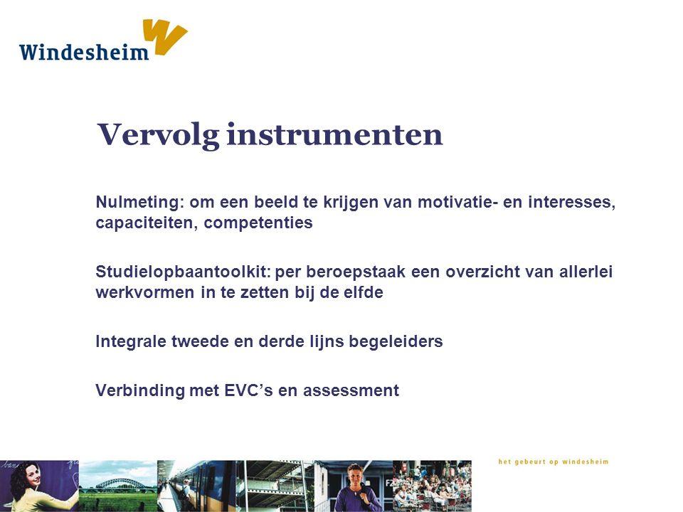 Vervolg instrumenten Nulmeting: om een beeld te krijgen van motivatie- en interesses, capaciteiten, competenties.