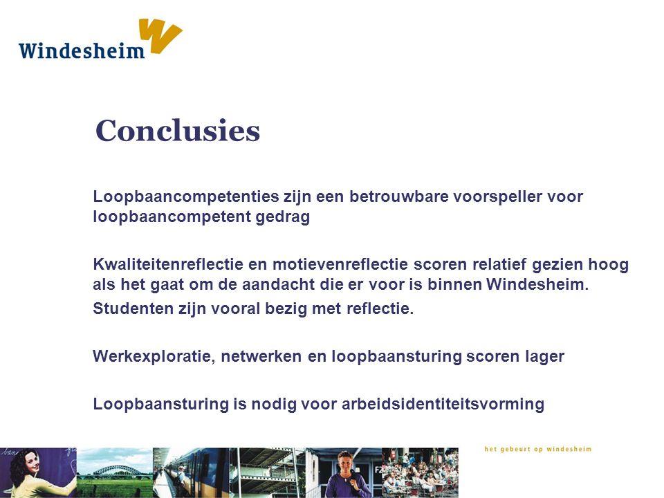 Conclusies Loopbaancompetenties zijn een betrouwbare voorspeller voor loopbaancompetent gedrag.