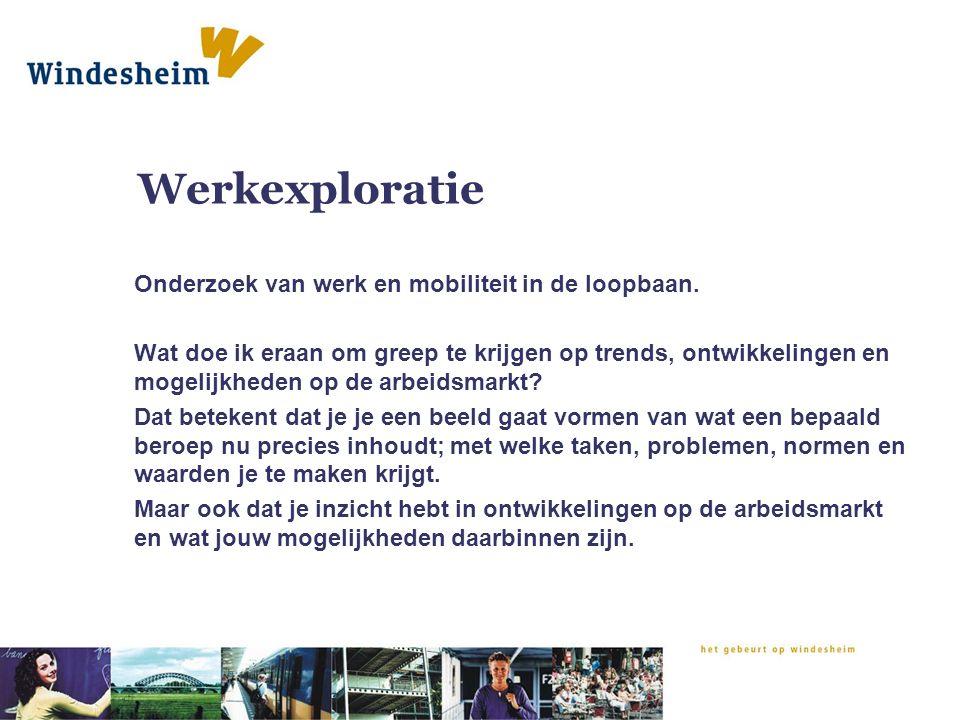 Werkexploratie Onderzoek van werk en mobiliteit in de loopbaan.
